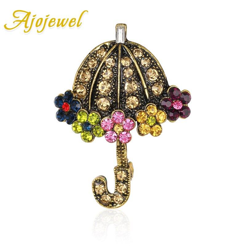 Ajojewel, broche de broche con broche de flor de diamantes de imitación, broches dorados antiguos coloridos para mujeres, regalos bonitos para niñas