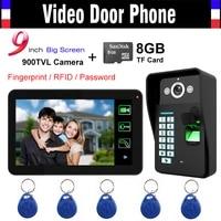 9 touch monitor fingerprint code id card unlock video record door phone video intercom doorbell doorphone 8gb card record