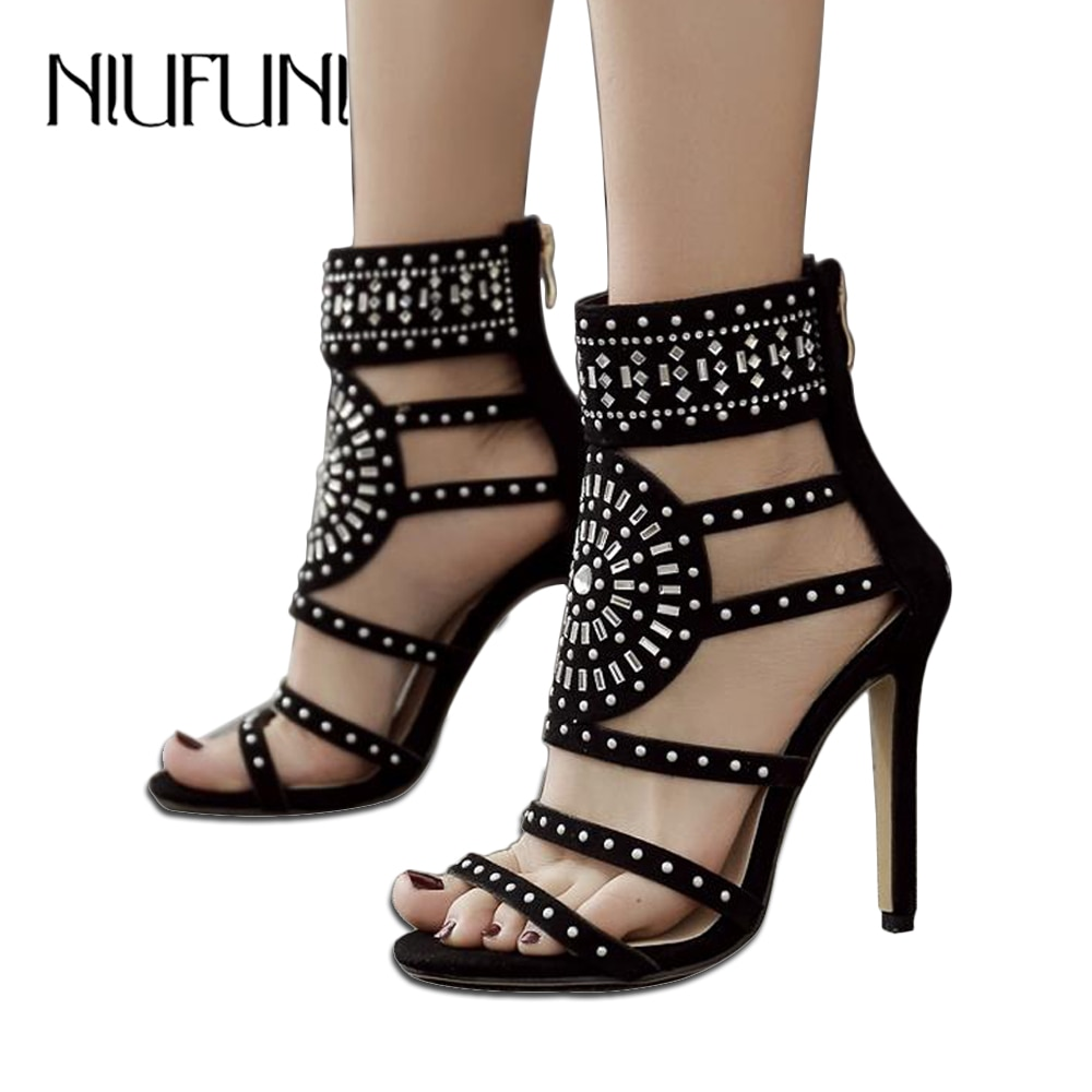 De talla grande 35-43 De gladiador sandalias de Punta abierta Sandalias de tacón alto de cristal tobillo bota corta zapatos de mujer negro