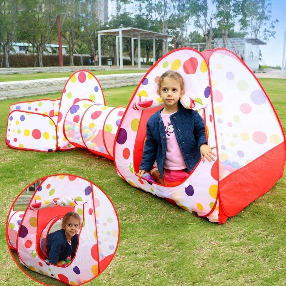 Casa de Juego 3 en 1 para niños, tienda de campaña para exteriores con túnel, carpa de juguete plegable para niños