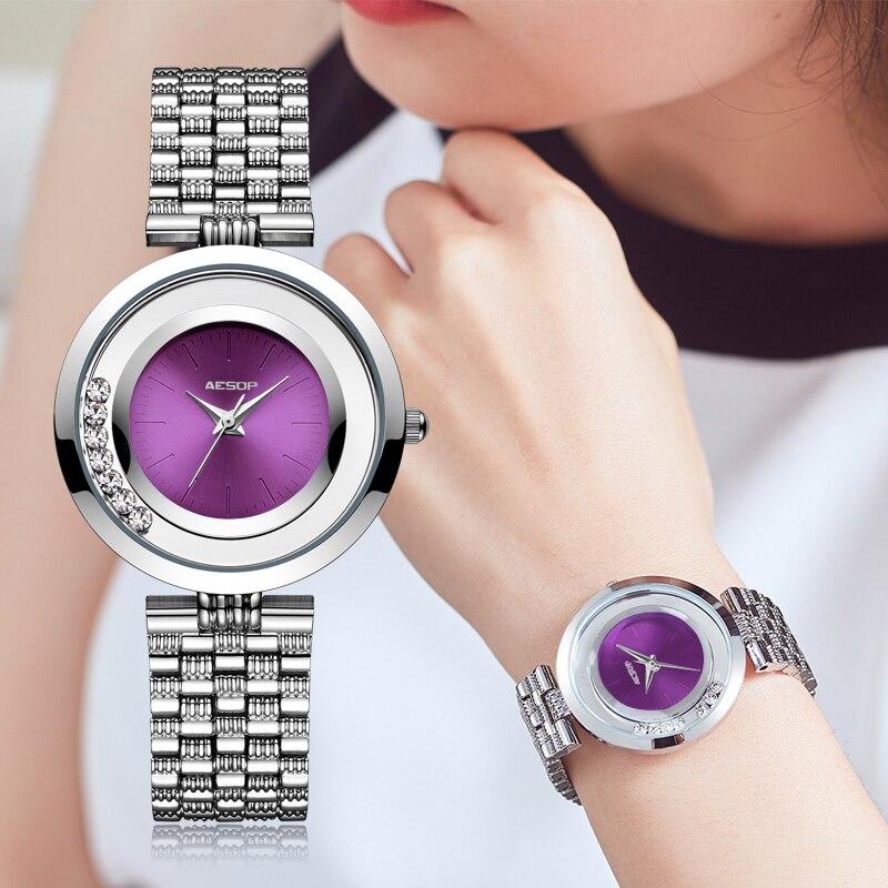 AESOP Brand Fashion Women Watch Quartz Wristwatch Simple Purple Thin Ladies Wrist Watches Clock Waterproof Relogio Feminino