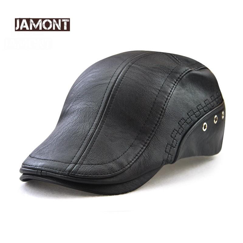 Мужские Зимние береты JAMONT, теплые береты из 100% искусственной кожи с надписью, Snapback