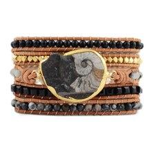 Bracelets en cuir fossiles naturels noirs et blancs fait à la main bohème enveloppement 5 brins Bracelet Unique Bracelets en pierre naturelle livraison directe