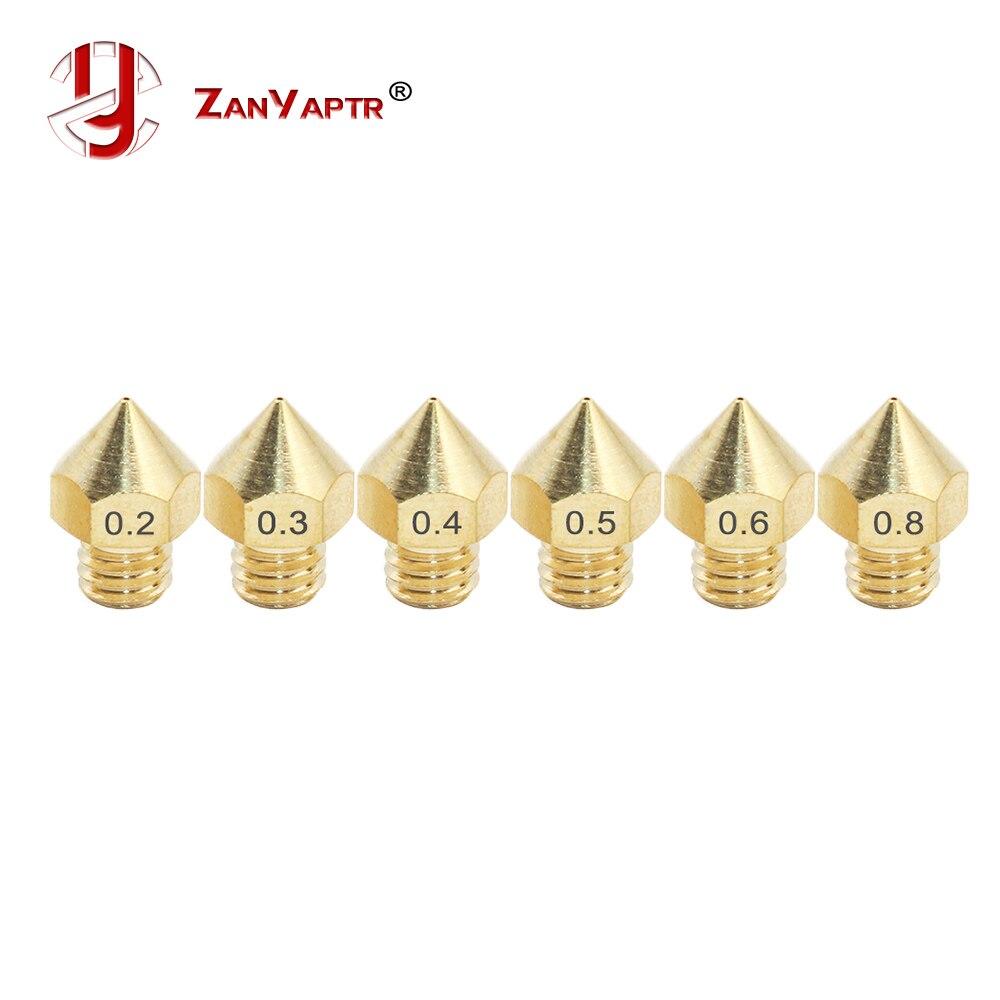 10 Uds. Para boquilla extrusora de PRUSE-I3 tamaños mixtos 0,2mm 0,3mm 0,4mm 0,5mm cabezal de impresora 3D 1,75 MM MK8 Makerbot