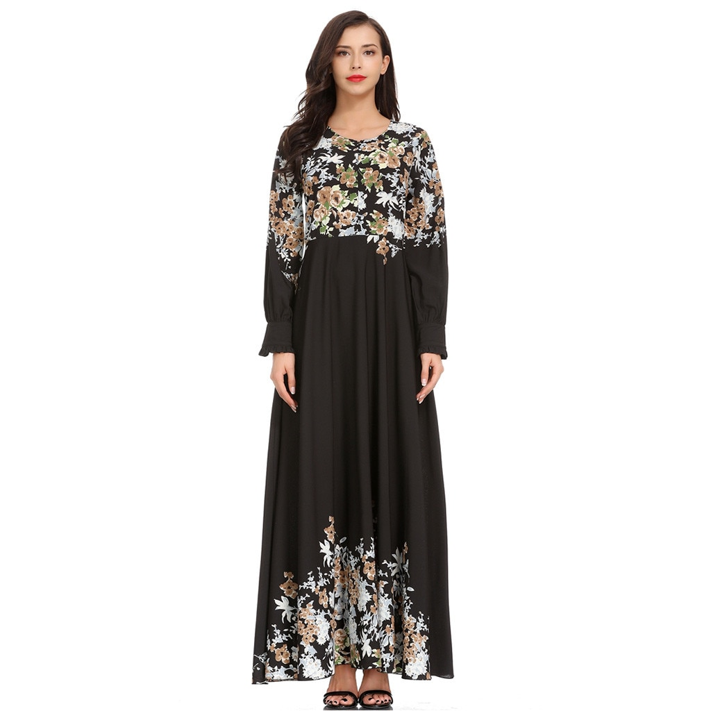Vestido Maxi elegante de gasa estampado Abaya largo musulmán vestido Kimono Ramadán Medio Oriente árabe islámico ropa W320