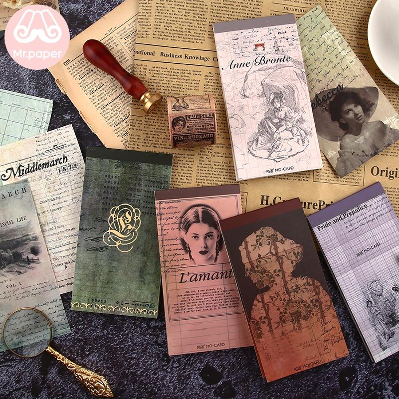 Mr paper 24 pçs/lote 12 projetos estilo vintage famosa literatura autores do sexo feminino almofadas de memorando criativo artsy folha solta nota memorando almofadas