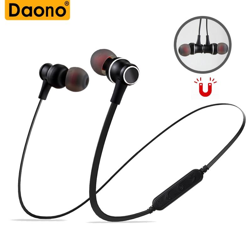DAONO Bluetooth беспроводные наушники для спорта, бега, стерео гарнитура, магнитные наушники, музыкальные наушники, поддержка Micro SD, TF карта