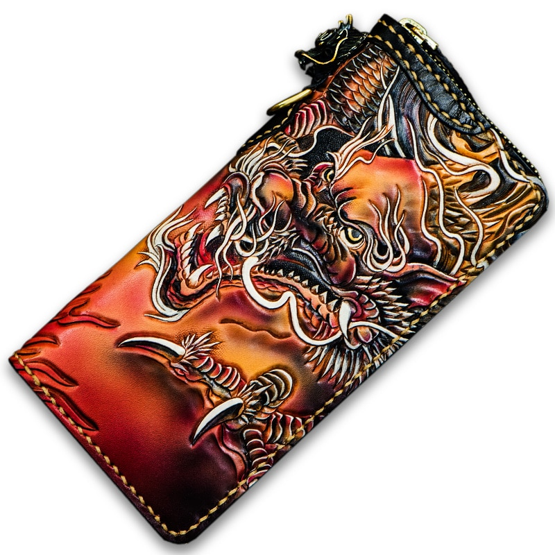 Hand Made Genuine Leather Wallets Carving Dragon Purses Men Long Clutch Vegetable Tanned Leather Wallet Card Holder