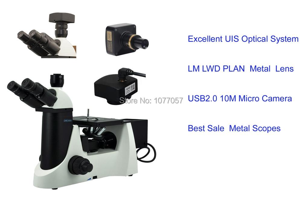Venta directa de fábrica, microscopio metalúrgico invertido CE 50x-1280X + cámara de microscopio de 10M píxeles para pruebas de materiales