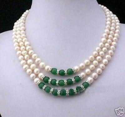 3 ряда 7-8 мм Белое Ожерелье Akoya Pearl & Emerald