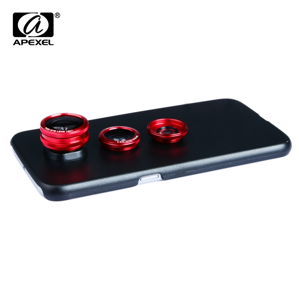 Apexel lente da câmera do telefone móvel com caso 3 em 1 olho de peixe lente grande angular macro para samsung galaxy s8 s7 s6 edge mais telefone