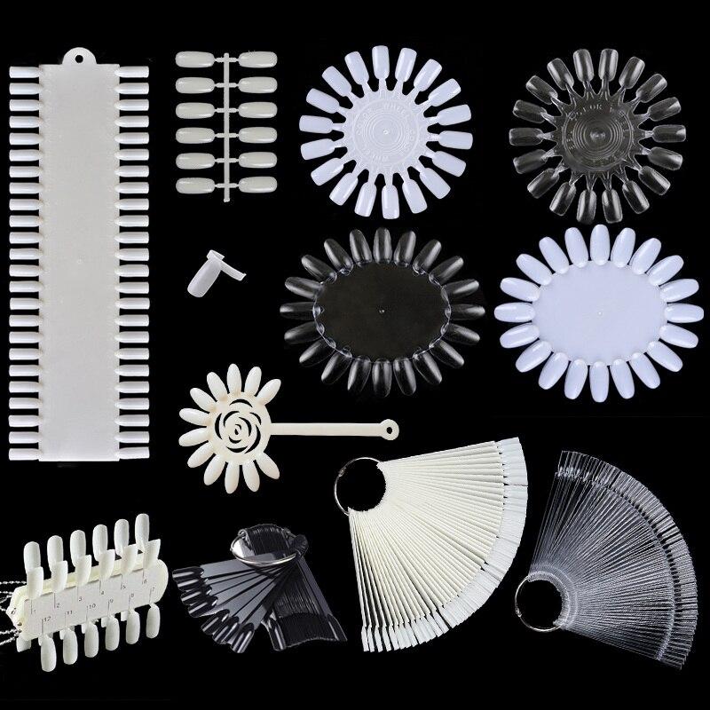 Prego dicas cor cartão da arte do prego prática ferramentas de exibição clara branco fivela anel manicure cor cartão para unha polonês gel poli uv gel