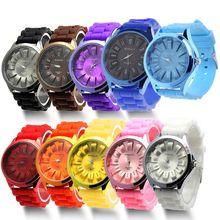 Jolie gelée montre-bracelet hommes femmes Silicone Quartz montre de sport genève montre-bracelet