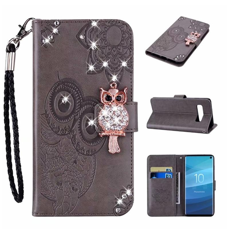 Funda de cuero con correa de búho de diamante para Samsung Galaxy S20 Ultra Note 20 10 9 8 S10 Lite S8 S9 Plus funda con tapa magnética