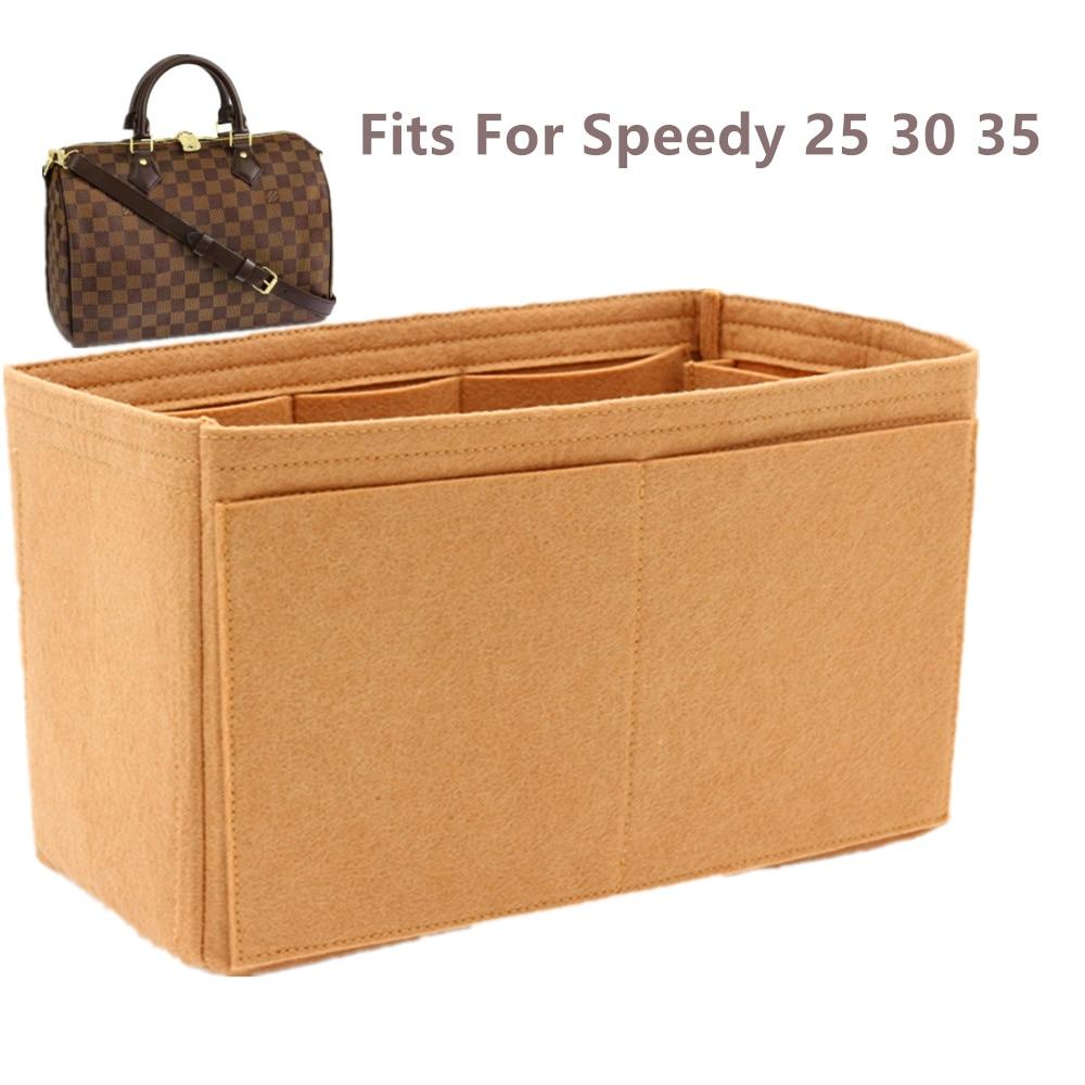 SPEEDY 25 30 35 Felt Cloth Insert Bag Organizer khaki Makeup Handbag shaper Organizer Travel Inner P