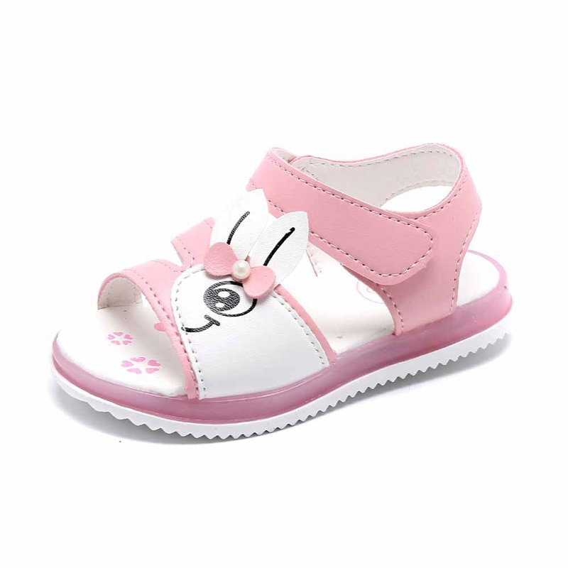 JUSTSL Girls sandals Flash shoes Kids Beach shoes Open-toe Sandals Children LED Non-slip Soft 2018 Summer shoes size 21-30