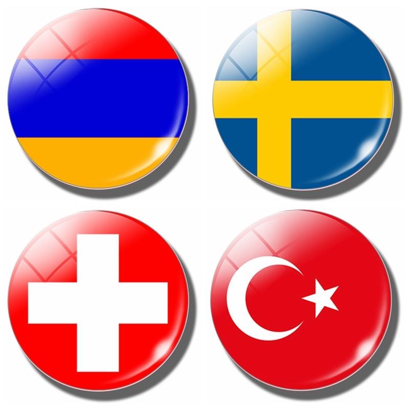 Sweden Armenia Switzerland Turkey Flag 30 MM Fridge Magnet Armenia Flag Glass Dome Refrigerator Stickers Note Holder Home Decor