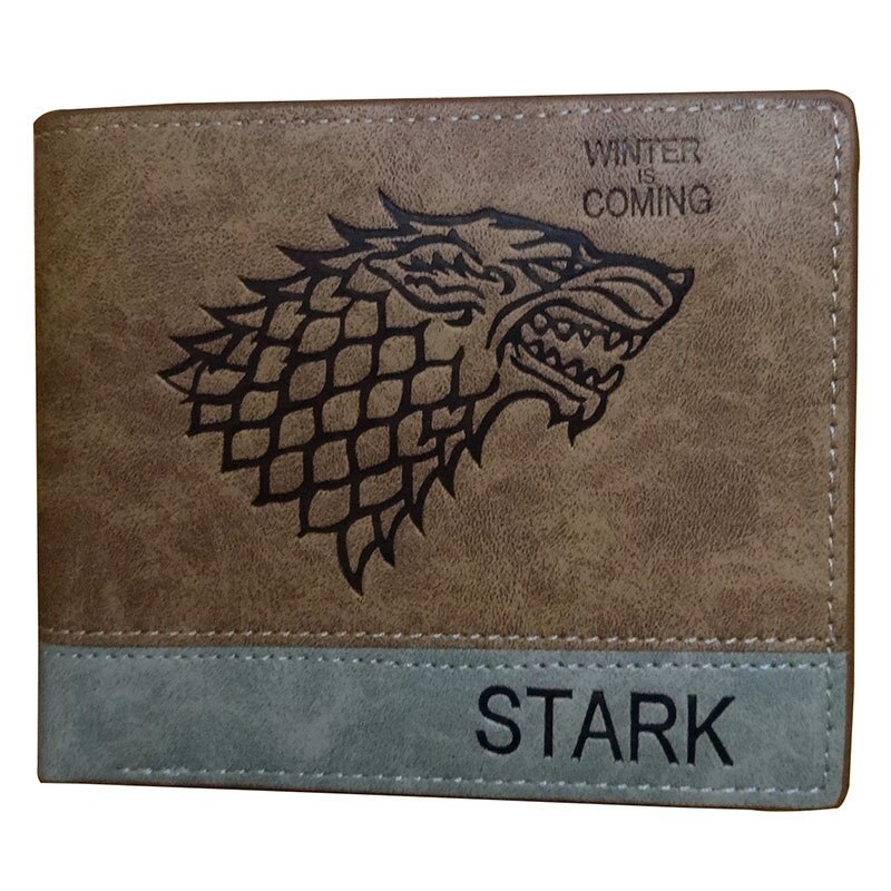 Cartera de dibujos animados de Anime de Game of Thrones STARK, monedero corto de cuero con cremallera
