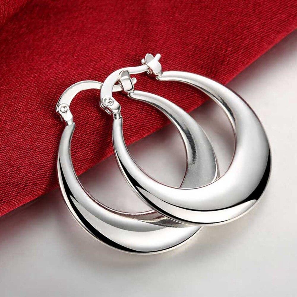 Europa jóias 925 prata lua círculo hoop brincos para mulheres marca moda u forma brincos por atacado