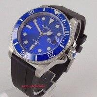 40mm Parnis blue dial date window ceramic bezel Miyota automatic mens watch P653