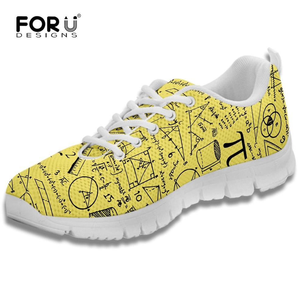 FORUDESIGNS/кроссовки с математическим узором; дизайнерская женская обувь; Повседневная дышащая прогулочная обувь на плоской подошве со шнуровк...