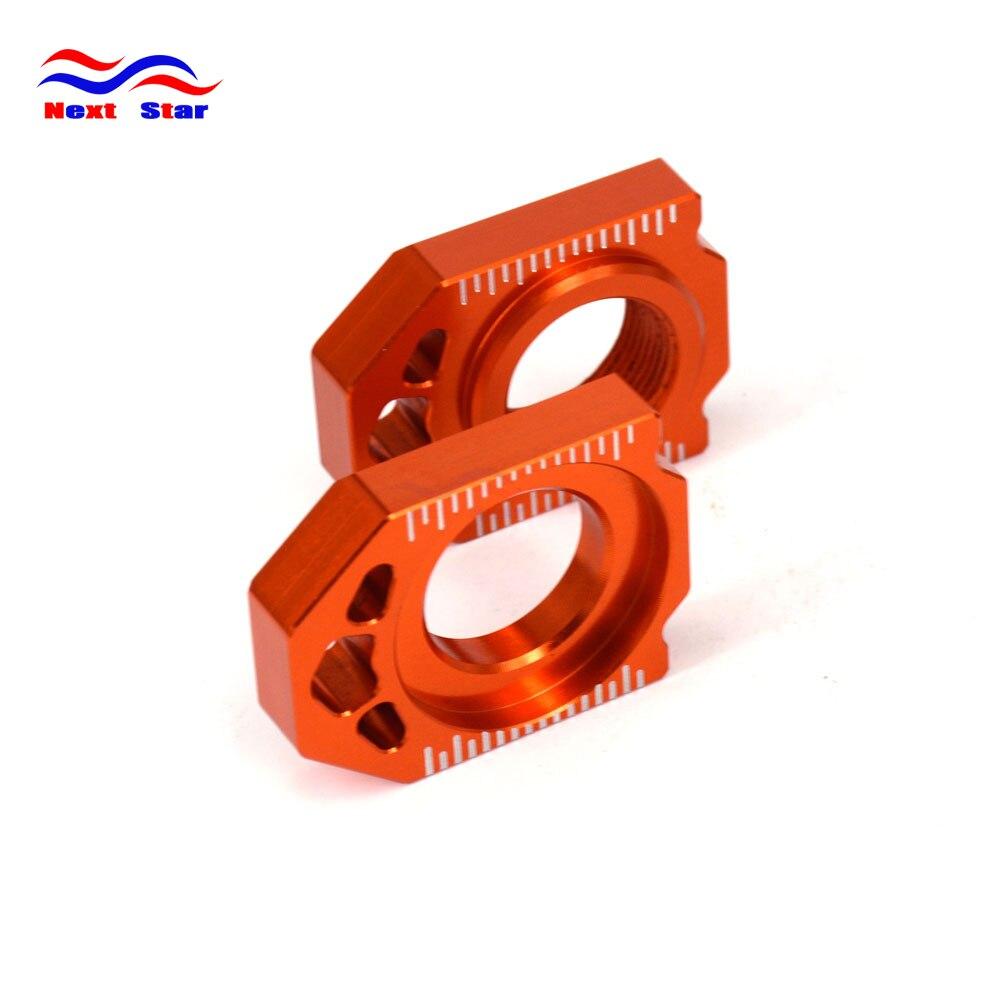Naranja CNC ajustador de cadena trasera eje bloque para KTM SX SXF XC XCF 125, 200, 250, 300, 350, 450, 500, 530, 2013, 2014, 2015, 2016