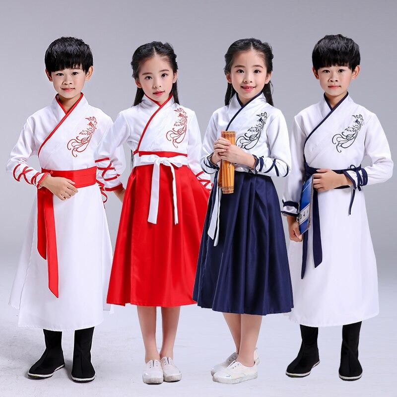 Estilo chino para niños, Hanfu, Disfraces para niños, niños y niñas, de tres personajes, estudiantes, lectura, disfraces