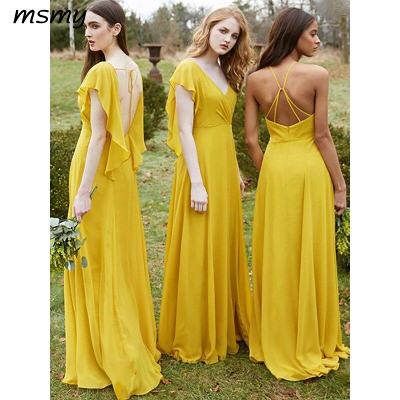 Простые платья трапециевидной формы для подружки невесты короткие желтые