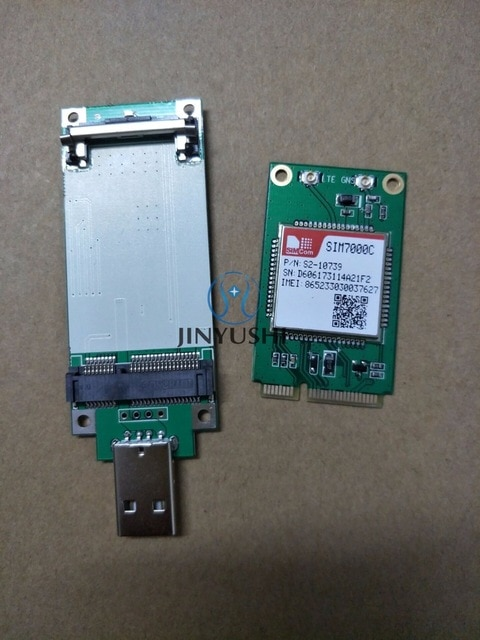 SIMCOM SIM7000C MINI PCIE + MINI PICE A Adaptador USB (con ranura para tarjeta Sim) NBIoT & LTE CATM1 EMTC TCP, HTTP, HTTPS SMS