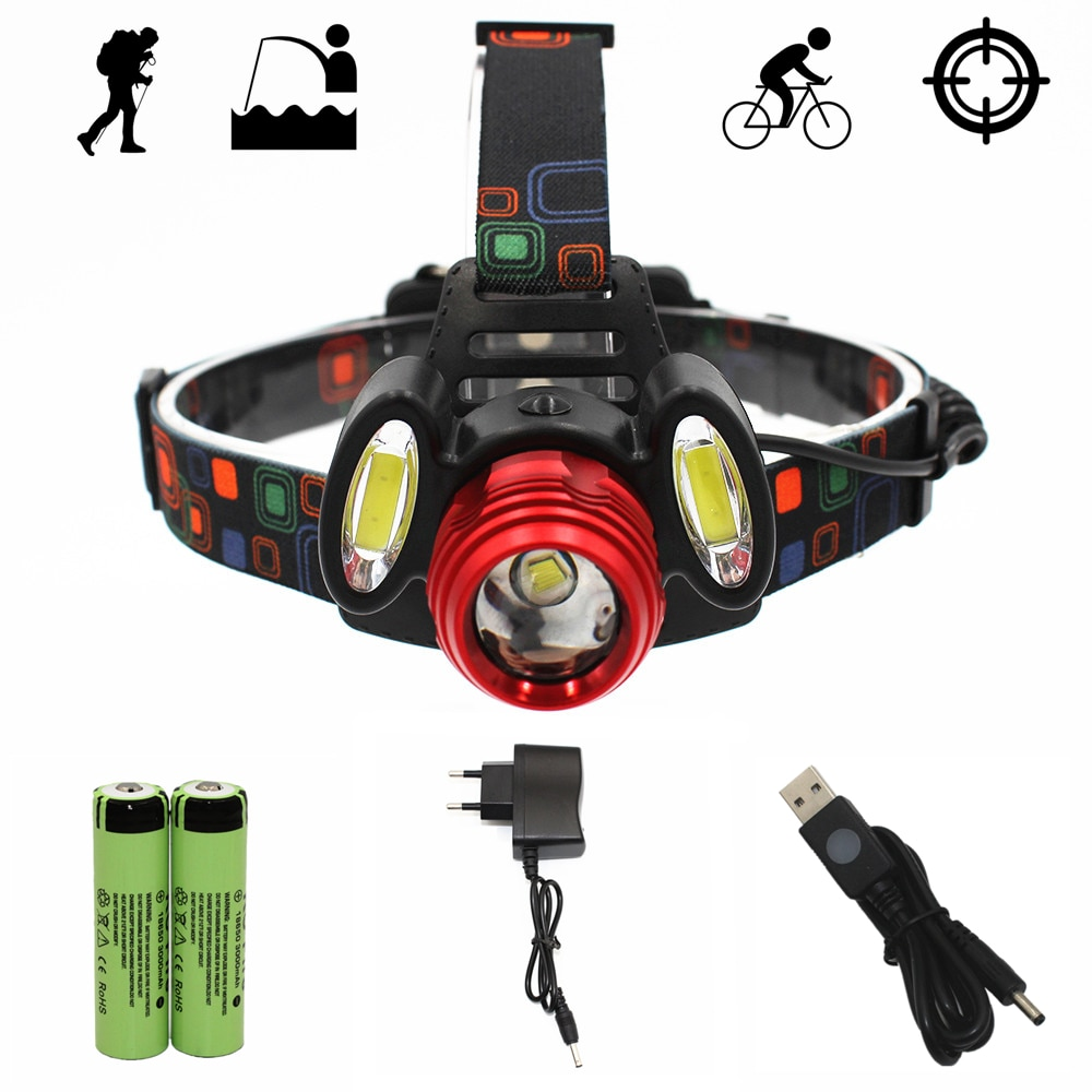 T6 COB LED Headlamp Zoom Headlight Head Flashlight 4 Mode Light Hunting Fishing Lamp + 18650 Battery + Charger