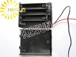 FREE SHIPPING 5PCS x  4x AAA 6V With Cover Plastic Black Battery Storage Case Box Holder Socket With150mm Wire Leads
