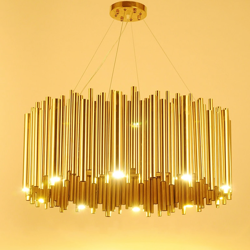 إيطاليا تصميم الذهب ديلايتفول بروبيك الثريا سبائك الألومنيوم أنبوب تعليق الإنارة مصباح المشاريع الموضة