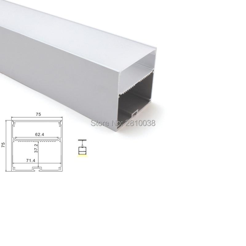 100 X1 M Sets/Lot 6000 series led aluminum profile channel and 75x75 U led profile light for suspension lamps