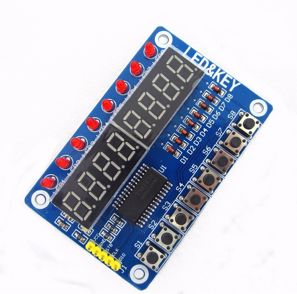 1 pcs Exibição Nova 8-Bit TM1638 Módulo Chave 8-Bit Digital Tubo LEVOU