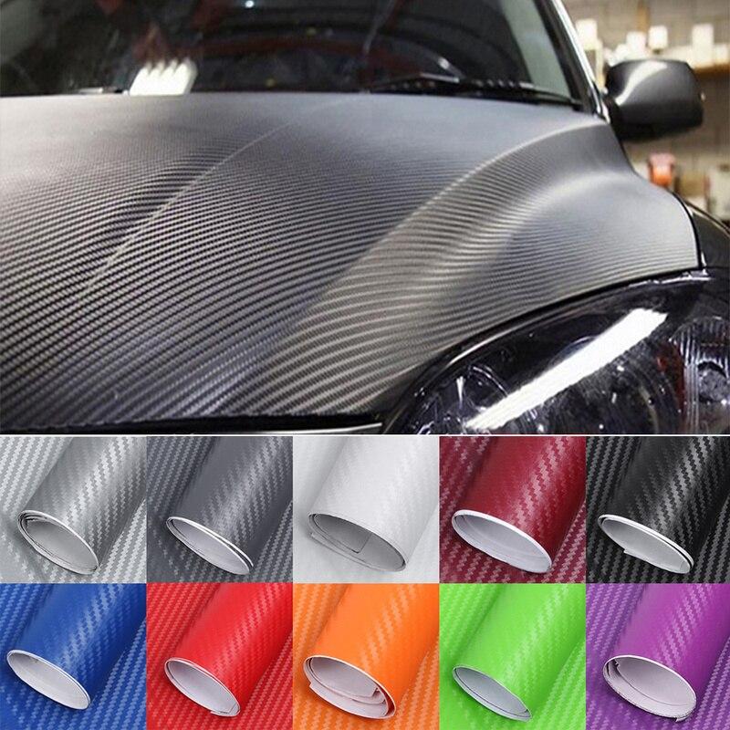 30 cm x 127 cm Fibra De Carbono Car Styling Adesivos Para Infiniti Q50 Mitsubishi ASX Outlander Lancer 10 Ford Focus 2 acessórios