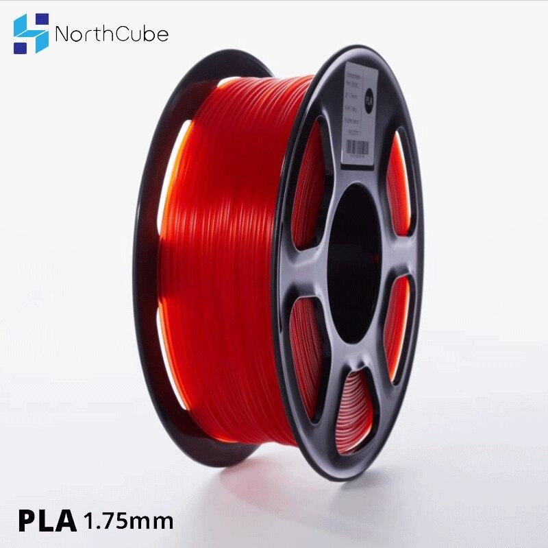 NORTHCUBE 3D طابعة PLA خيوط 1.75 مللي متر ل 3D الطابعات ، 1 كجم (2.2lbs) +/- 0.02 مللي متر شفافة اللون الأحمر