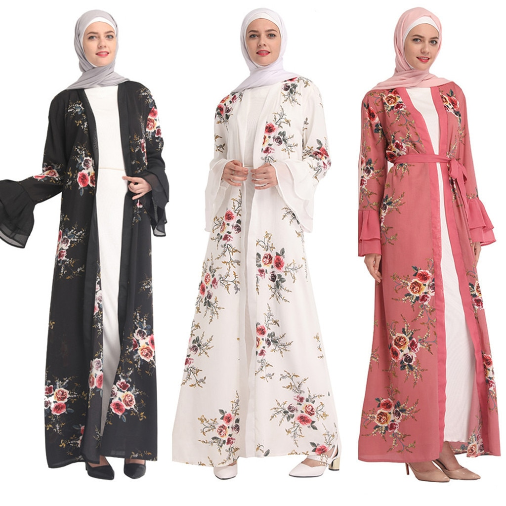 Islam Mulheres Quimono Rrilling Turco Muçulmano Eid Mubarak Verão Quente Rendas Moda Preto Renda Bordada Solto RobesY56