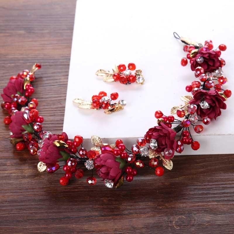 FORSEVEN corona hecha a mano de perlas de cristal Rosa rojo Tiaras tocado joyería de cabeza de mujer pieza de cabeza accesorios para el cabello fiesta de boda JL