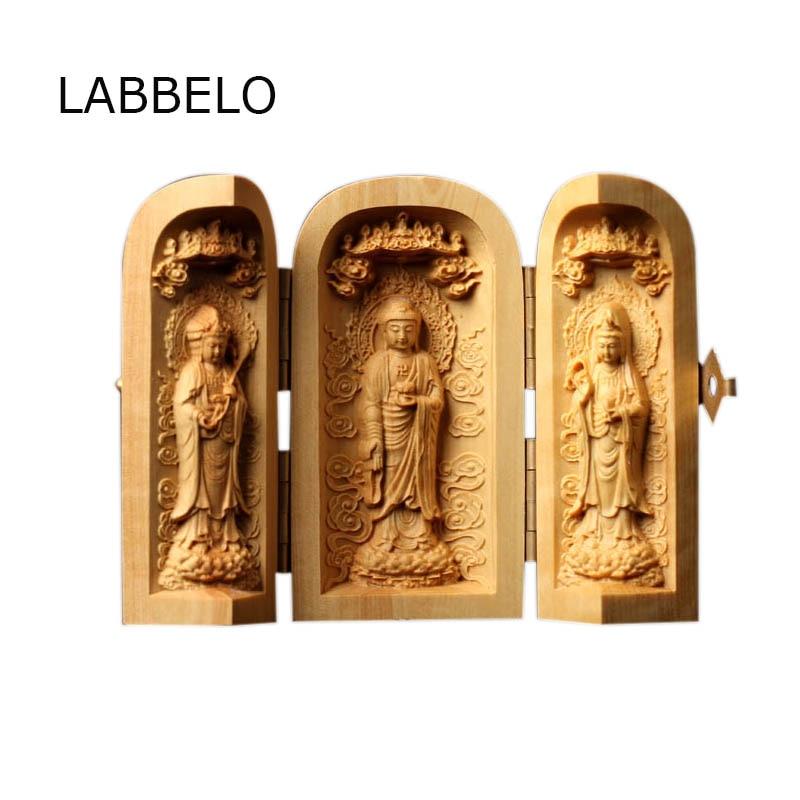 Figurine de bouddha bodhisattva   3 pièces, trois courbes, statue de bouddhisme, boîte ouverte, porter des artisanat en bois, sculpture, décoration bouddhiste en gros