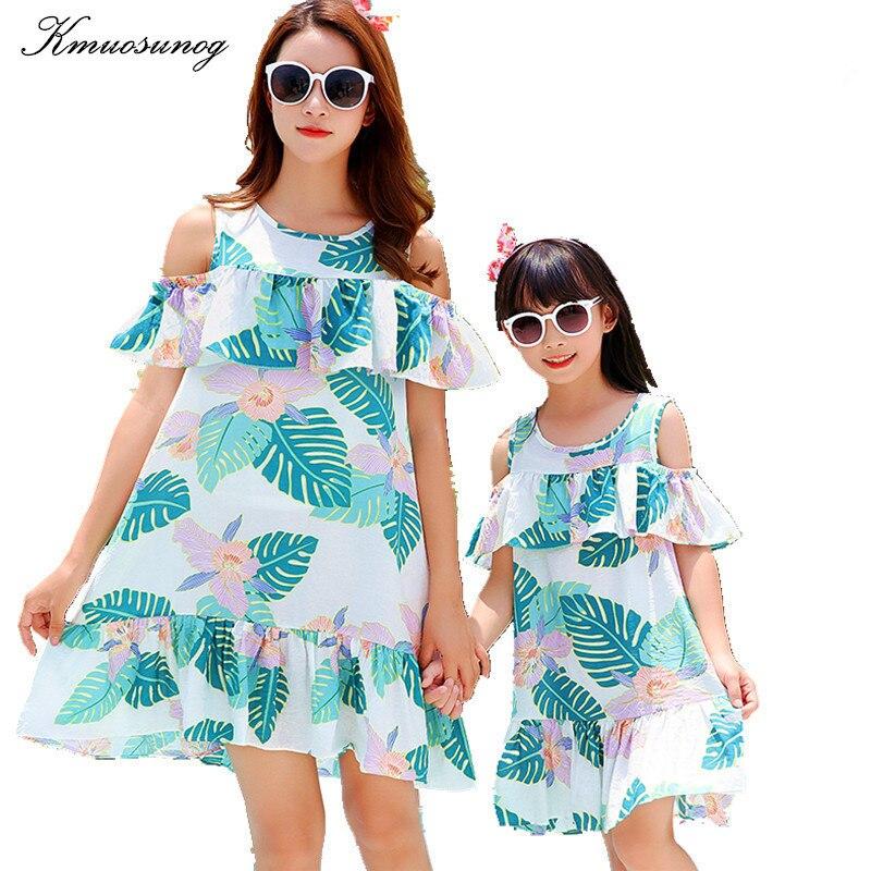 Vestido de verano para madre e hija, Vestidos bohemios de algodón con volantes, Vestidos familiares a juego, Vestidos bonitos para mujer y Niña H0846