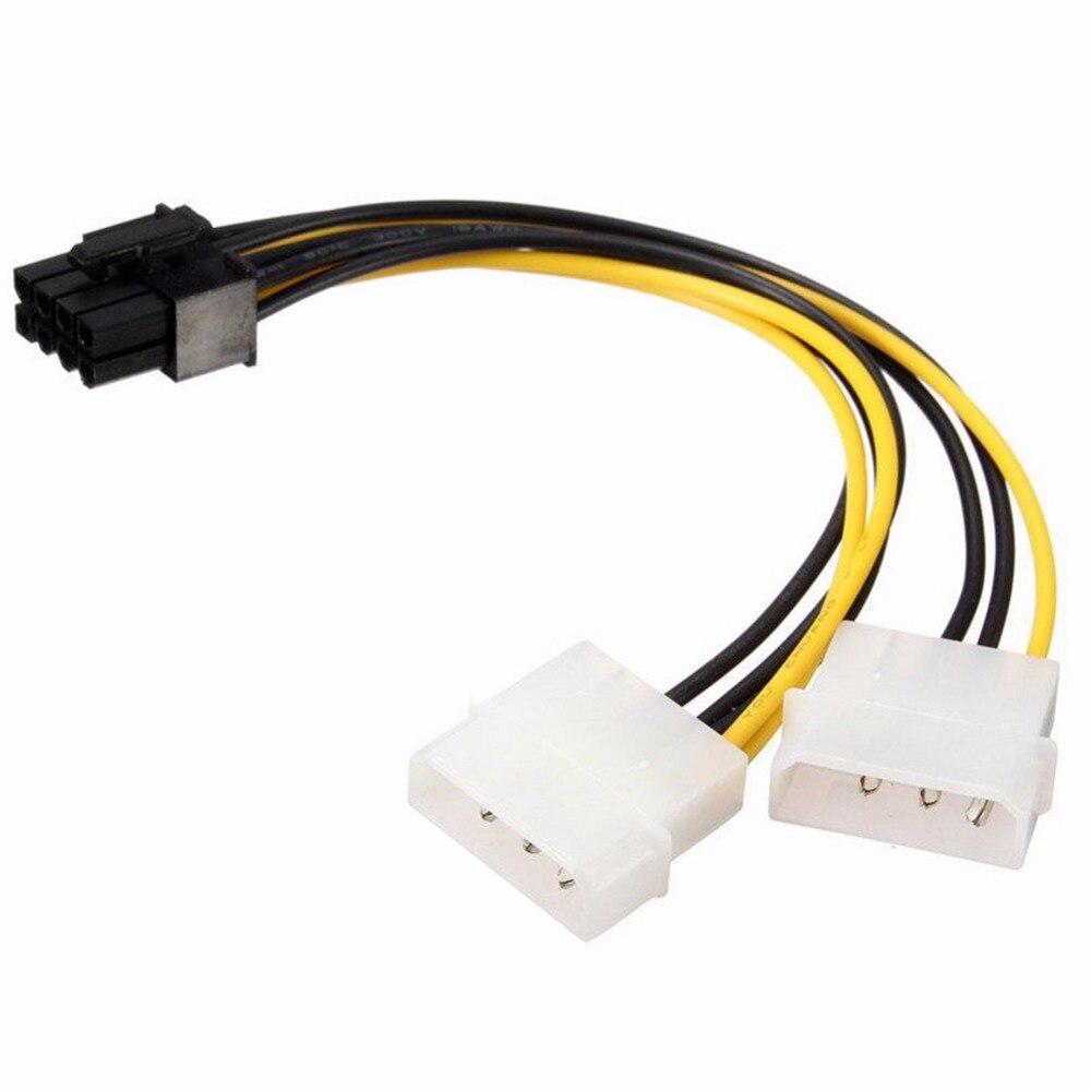 Cable de alimentación de tarjeta de vídeo de 18cm de 8 pines a doble 4 pines Y forma de 8 pines PCI Express a doble Cable de alimentación de tarjeta gráfica de 4 pines