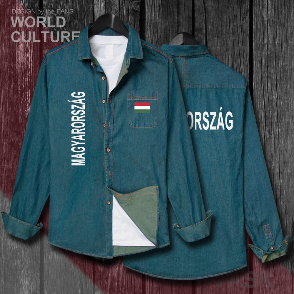Húngaro HUN HU hombres banderas ropa primavera otoño manga larga vaquero Casual abrigo moda Turn-down Collar Jeans parte superior de la camisa