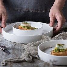 1x Weiß Runde Porzellan Esszimmer Frühstück Desserts Kuchen Snacks Abendessen Teller Dish Umweltfreundliche Geschirr mikrowelle sicher
