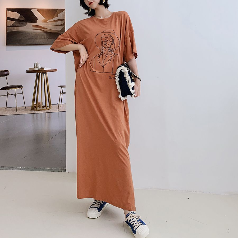 NYFS فستان صيفي 2021 الكورية الجديدة فضفاضة كبيرة الحجم قصيرة الأكمام فستان امرأة Vestidos رداء Elbise موضة طباعة فستان طويل