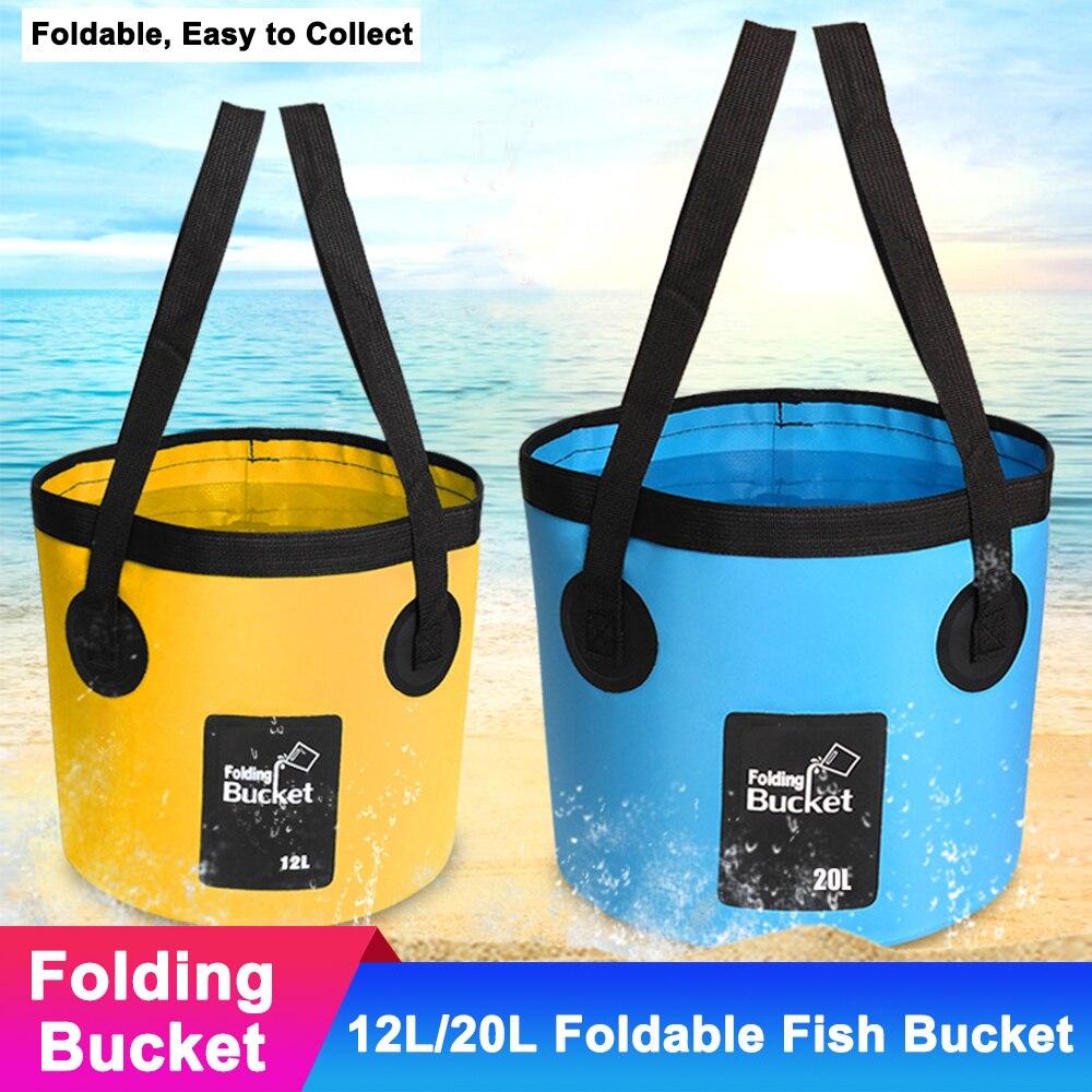 12l dobrável acampamento saco de água para viagens ao ar livre caminhadas balde de pesca à prova dwaterproof água portátil dobrável recipiente de armazenamento de água