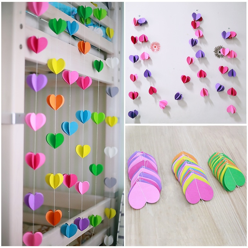 Mode tenture murale papier 3D étoiles guirlandes 3m Long anniversaire chaîne chaîne de mariage fête bébé douche enfants adulte chambre décor à la maison
