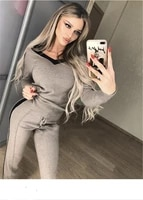 2020 top fashion full wool new word shoulder v neck pullover sweater casual trousers two piece knitted cashmere suit woman