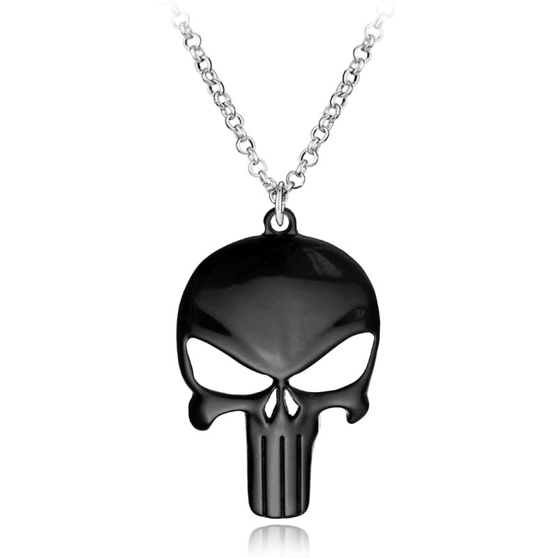 Punisher Trendy Symbol Black Skull Mask Pendant NecklaceHalloween Gifts Statement Long Necklace