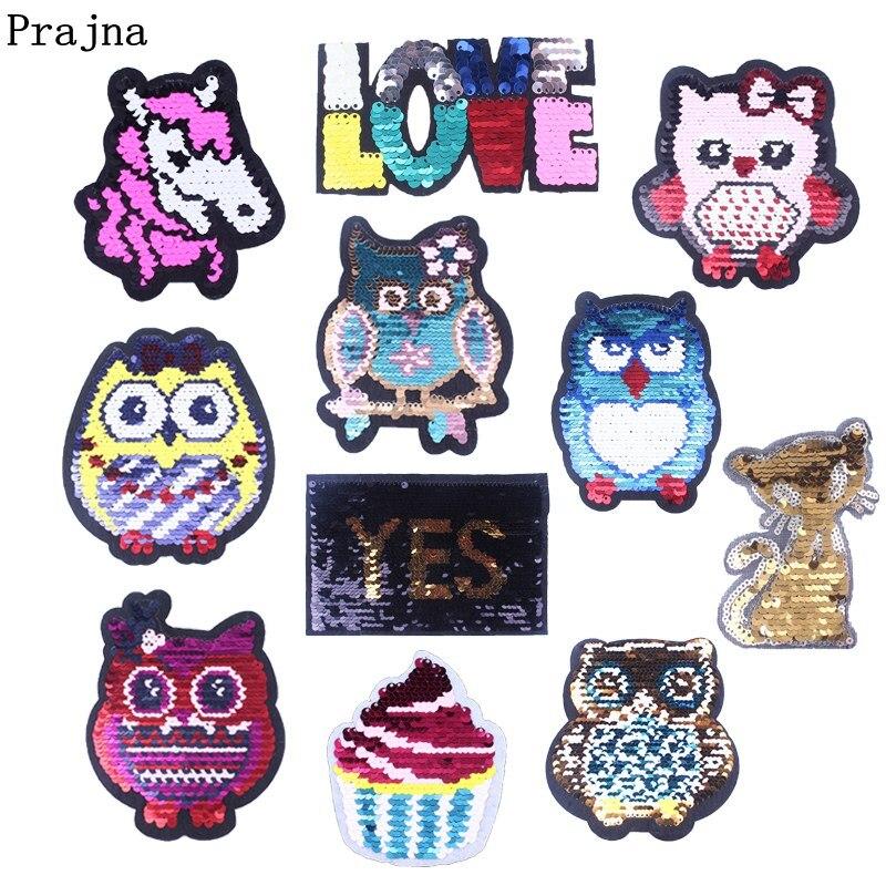 Prajna Baby Owls Stripes On Clothing Black Cat Unicorn Patches Reversible Change Color Sequin Patch Appliques For T-shirt DIY