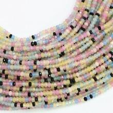 Pierre naturelle multicolore jades 2*4mm rondelle à facettes abacus calcédoine pierre haute qualité femmes bricolage perles en vrac 15 pouces B570